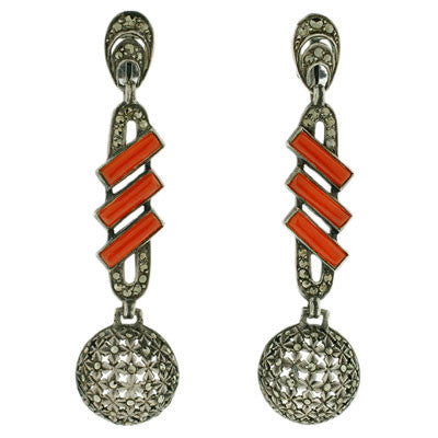 FAHRNER Art Deco Sterling, Carnelian & Marcasite Earrings