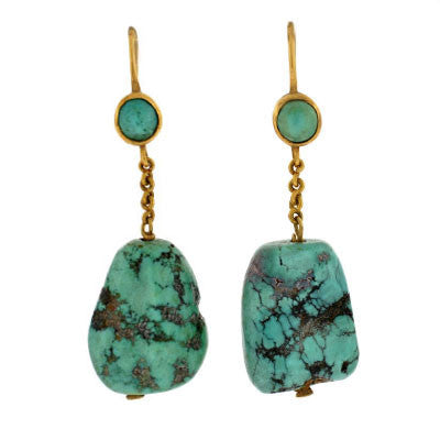 Vintage 14kt Yellow Gold & Turquoise Earrings