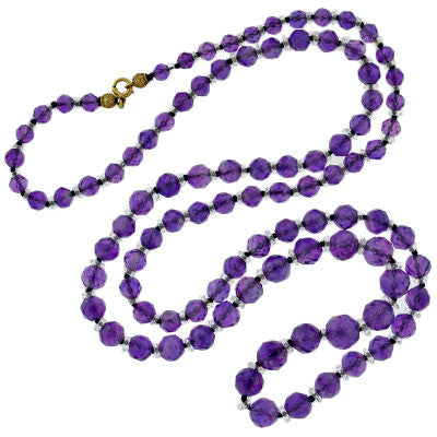 Late Art Deco Amethyst & Rock Quartz Faceted Beads