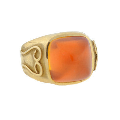 Art Deco 14kt & Sugarloaf Cabochon Citrine Ring