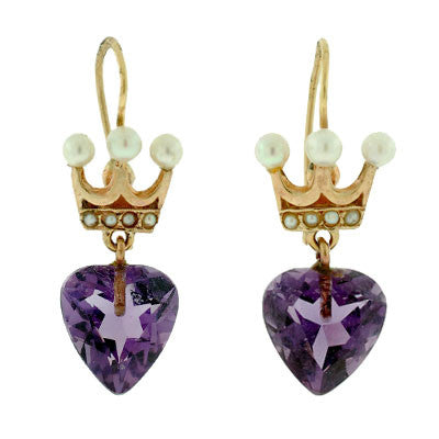 Late Retro 14kt Amethyst Heart & Pearl Crown Earrings