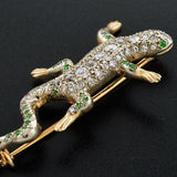 Edwardian 14kt Diamond & Demantoid Garnet Lizard Pin