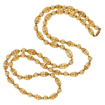Late Art Deco 14kt Citrine & Rock Quartz Bead Necklace