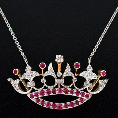 Edwardian Platinum, 14kt, Ruby & Diamond Crown Necklace