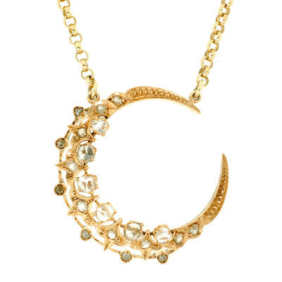 Victorian 14kt & Rose Cut Diamond Crescent Moon Necklace