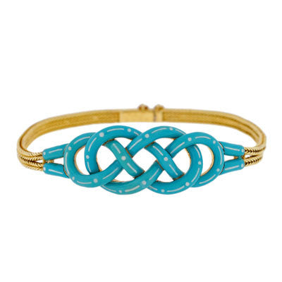 Victorian 18kt Gold Enameled Double Love Knot Bracelet