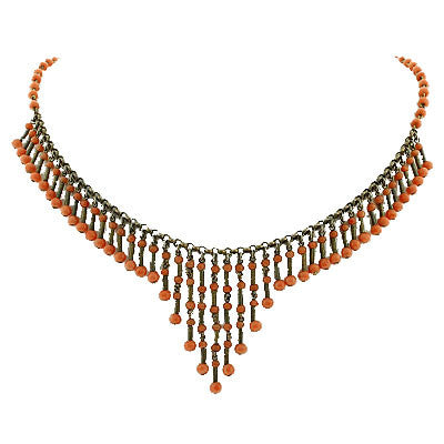 Victorian Sterling & Natural Coral Festoon Necklace