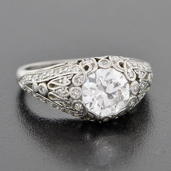 J.E. CALDWELL Art Deco Plat & Diamond Engage Ring 1.24ct