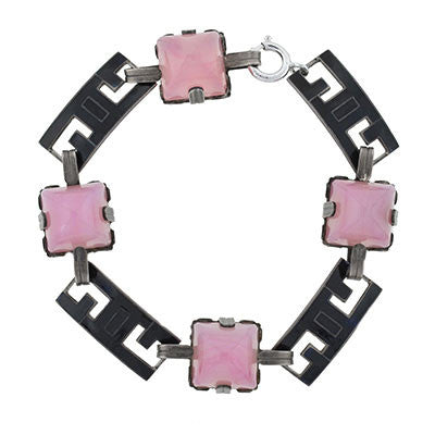 "Art Deco Sterling ""Rose Quartz"" & Enamel Bracelet"