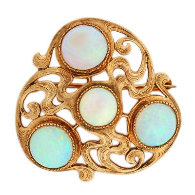 Art Nouveau 14kt Yellow Gold and Opal Pin