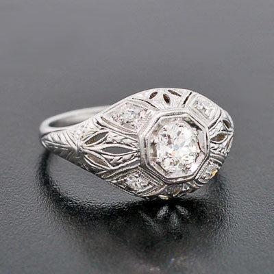 Art Deco Platinum Diamond Engagement Ring .35ct