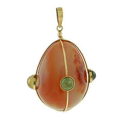 Estate 18kt Huge Carnelian Agate Pendant