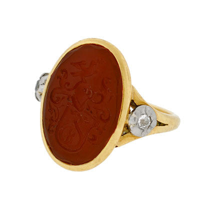 Georgian 18kt Diamond & Carnelian Signet Ring