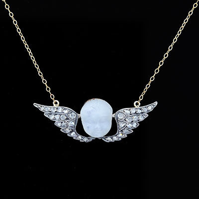 Victorian Carved Moonstone & Diamond Cherub Necklace
