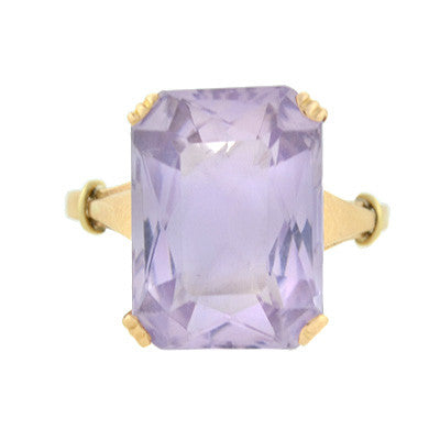 Art Deco 14kt Yellow Gold & Kunzite Ring