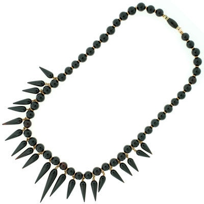 Victorian 14kt Onyx Beaded Festoon Necklace