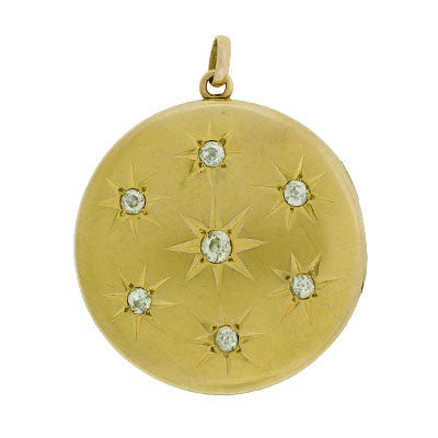 Victorian 12kt & Diamond Starburst Locket 1ctw