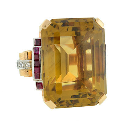 Retro Huge 14kt Citrine, Ruby & Diamond Cocktail Ring 70cts