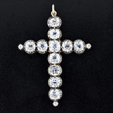 Victorian Large Sterling & French Paste Cross Pendant