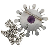 SPRATLING Vintage Sterling & Amethyst Sunburst Necklace