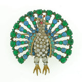 Art Deco Czech Brass & Glass Peacock Pin