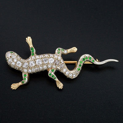 Edwardian 14kt Diamond & Demantoid Lizard Pin