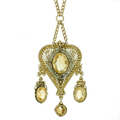 Victorian Sterling Gilt Citrine & Seed Pearl Long Necklace