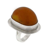 Vintage Mexican Sterling Silver Large Amber Ring