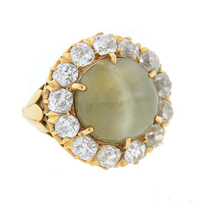 Victorian 14kt Huge Cat's Eye Chrysoberyl & Diamond Ring