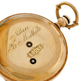 Victorian 14kt & Black Tracery Pocket Watch w/Key & Box