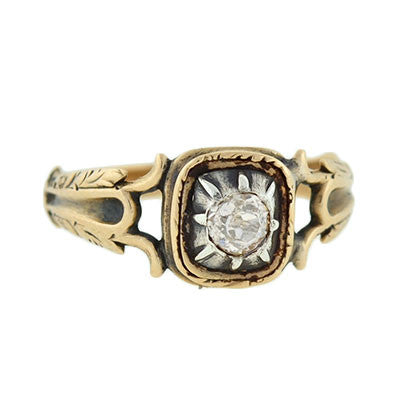 Victorian 15kt & Sterling Mine Cut Diamond Ring .35ct