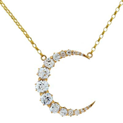 Victorian 18kt & Diamond Crescent Necklace 2.5ctw