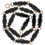 Victorian 14kt Gold & Hand Carved Onyx Link Necklace