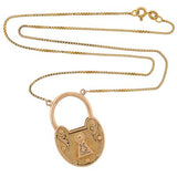 Victorian 18kt Yellow Gold French Padlock Heart Necklace
