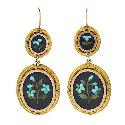 Victorian 14kt Gold Pietra Dura Earrings