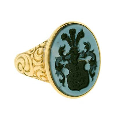 Victorian 18kt Gold & Banded Agate Intaglio Ring