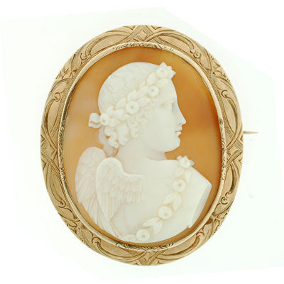 Victorian Large 12kt Hand Carved Shell Cameo Pin