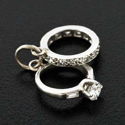 Art Deco Platinum & Diamond Engagement Ring & Band Charm
