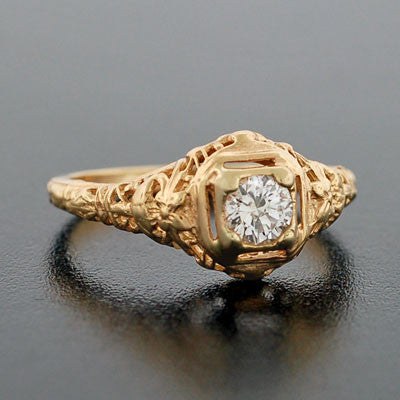 Art Deco 14kt Yellow Gold Diamond Engagement Ring .35ct