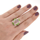 Art Deco 14kt Rose Quartz & Heart Enamel Filigree Ring
