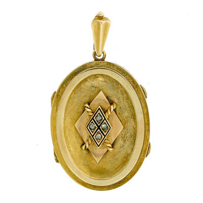 Victorian 15kt Gold Rose Cut Diamond & Enamel Locket
