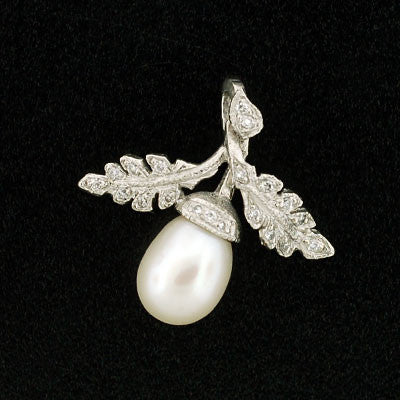 Estate Platinum Pearl Acorn & Diamond Pendant