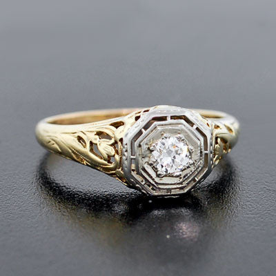Edwardian 18kt White & Yellow Gold Engage Ring 0.16ct