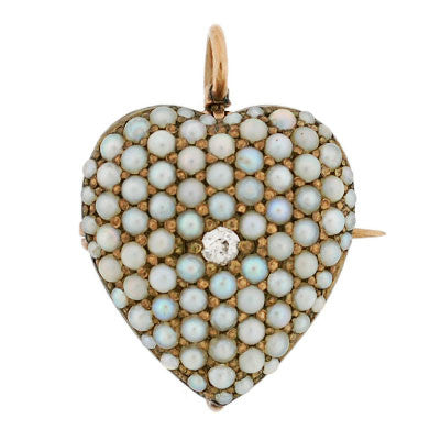 Victorian 14kt Pave Pearl & Diamond Heart Pin/Pendant