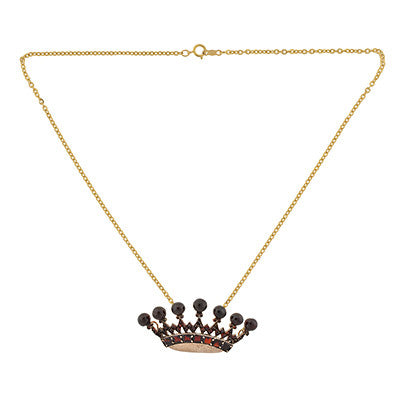Victorian Gold Filled Bohemian Garnet Crown Necklace