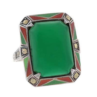 Art Deco Sterling Enameled Marcasite & Chrysoprase Ring