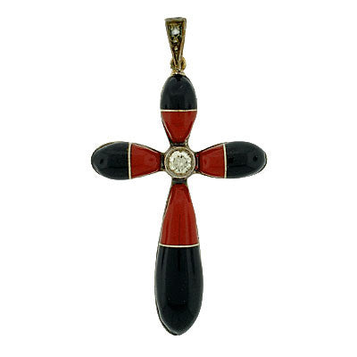 Art Deco 18kt Enameled Cross w/ Diamond Pendant