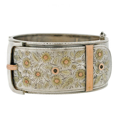Victorian Sterling Mixed Metals Buckle Bracelet