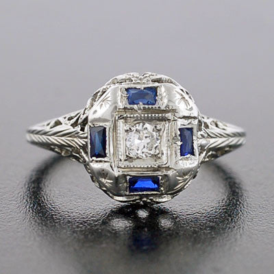 Art Deco 18kt Diamond & Sapphire Engage Ring .10ct