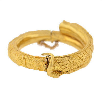 Victorian 18kt Serpent Bangle Bracelet w/ Diamonds